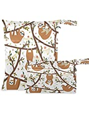 AUUXVA 2pcs Wet Dry Bags Waterproof Animal Funny Sloths Cloth Diaper Bag Reusable with Two Zippered Pockets Travel Beach Pool Daycare Items Yoga Gym Washable Bag for Swimsuits Wet Clothes