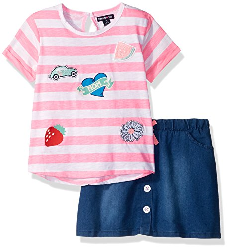 Limited Too Big Girls' Fashion Top and Skort Set (More Styles Available), Neon Light Pink KZ75, 10 Girls Skort Skirt Shorts