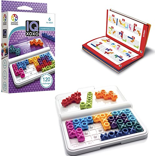 (SmartGames IQ XOXO, a Travel Game for Kids and Adults, a Cognitive Skill-Building Brain Game - Brain Teaser for Ages 6 & Up, 120 Challenges in Travel-Friendly Case.)
