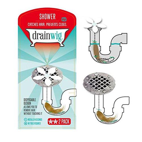 2-Pack: DrainWig Shower Hair Catcher - Never Clean Clogged Drains Again