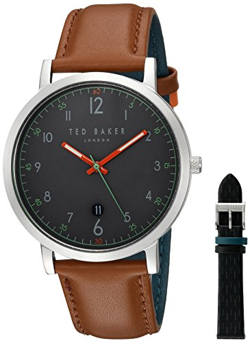 Ted Baker Men's David GiIFT Set Stainless Steel Quartz Watch with Leather Strap, Multi, 19 (Model: TE15194001