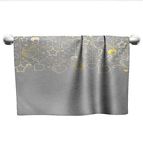 alisoso Grey and Yellow,Boys Towel Ethnic Christmas Themed Ornament Holiday Hearts and Flowers Bathroom Hand Towels Beige Yellow Pale Grey W 28