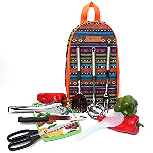 8 Piece Portable Camping Kitchen Utensils Set Outdoor Hiking Backpack Bbq Cooking Kitchenware Cookware Cutting Board, Rice Paddle, Tongs, Scissors, Knife
