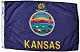Annin Flagmakers Model 141850 Kansas State Flag Nylon SolarGuard NYL-Glo, 2×3 ft, 100% Made in USA to Official Design Specifications
