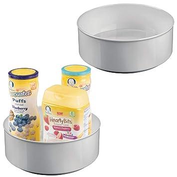 mDesign Juego de 2 estantes giratorios para accesorios – Bandeja redonda para accesorios de bebé, biberones o chupetes – Organizador con base ...