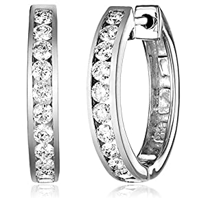 14k Gold Channel Set Diamond Hoop Earrings (1 cttw, H I Color, I1 I2 Clarity)