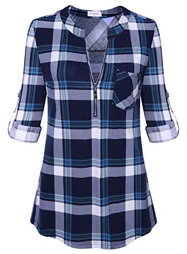 Top Sleeve 1/2 (Bulotus Women's 1/2 Zipper V-Neck 3/4 Sleeve Fall Tunic Shirt for Work Blue M)