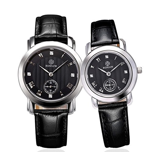 Binlun-His-Hers-Genuine-Leather-Band-Japanese-Quartz-Couples-Watch-2pcssetBlack-Dial