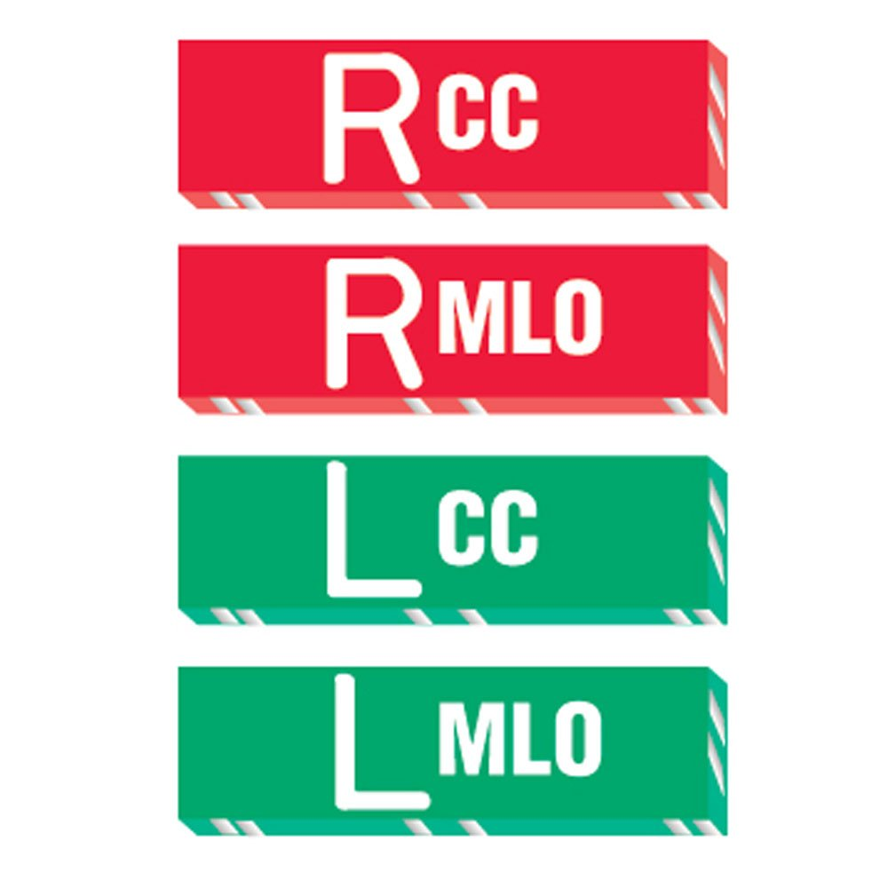 PDC Healthcare MRK-292 X-Ray Marker - Abbreviated,R and L - CC/MLO, Polycarbonate, 1-1/2 x 3/8 x 1/8, Red/Green (Pack of 4)