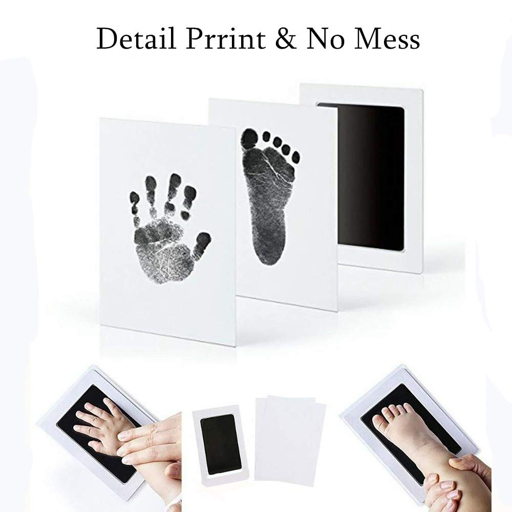 """3 in 1 Large Safe Inkless/""""Clean-Touch/""""Handprint and Footprint Ink Pad with 2 Imprint Cards 100/% Non-Toxic /& Mess Free Safe for Newborn Baby and Toddlers(Black)"""