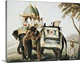 greatBIGcanvas Gallery-Wrapped Canvas entitled Elephants with their mahout, c.1815 (pencil and w/c heightened with white one paper) by Anglo-Indian School 30''x23''
