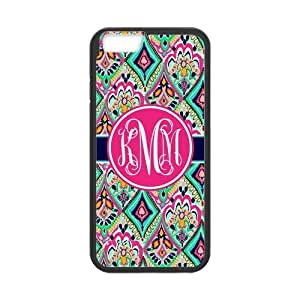 Hot Pretty Floral Jewels Monogrammed Luxury Cover Case For Iphone 6 Plus (5.5inch)(Black) with Best Plastic ALL MY DREAMS