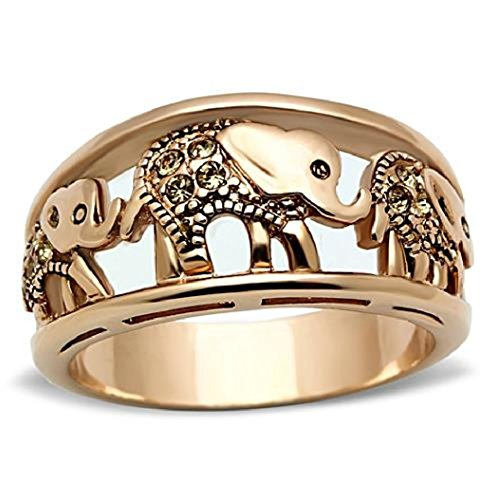 Stainless Steel Rose Gold Plated Citrine Yellow Crystal Elephant Cocktail Band Ring,Size 5,6,7,8,9,10