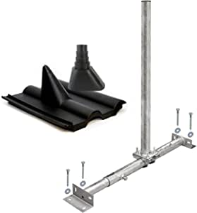 PremiumX Soporte para vigas de techo, antena parabólica, set de montaje, soporte para vigas, galvanizado al fuego, mástil Frankfurt SAT, tacos, negro