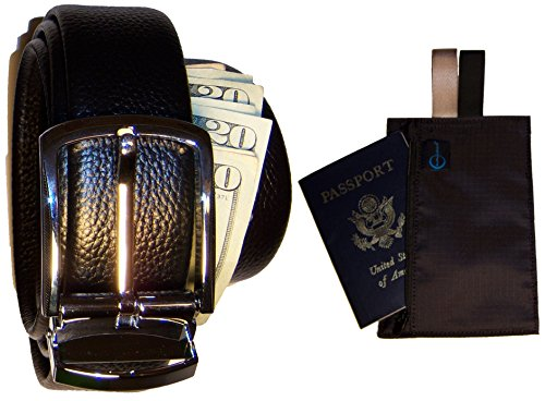 Classy Traveler's Leather Money Belt and Bonus RFID-blocking hidden wallet (Black) (Belt Wallet For Men compare prices)