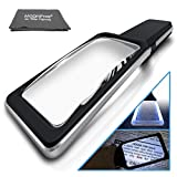 Large Magnifying Glass Handheld Reading Magnifier 3X + 5X Magnification with 10 Dimmable LEDs [Provides Evenly Lit Viewing Area] Ideal for Reading Small Prints, Book, Low Vision, Read Easily at Night