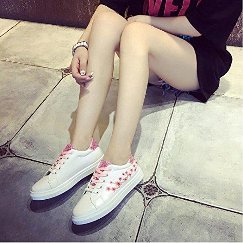 Mujeres Con Cordones Deportes Correr Zapatillas De Deporte Bordado Zapatos De Deslizamiento De Flores Casual Caminar Viajar Zapatillas Zapatos De Color Rosa