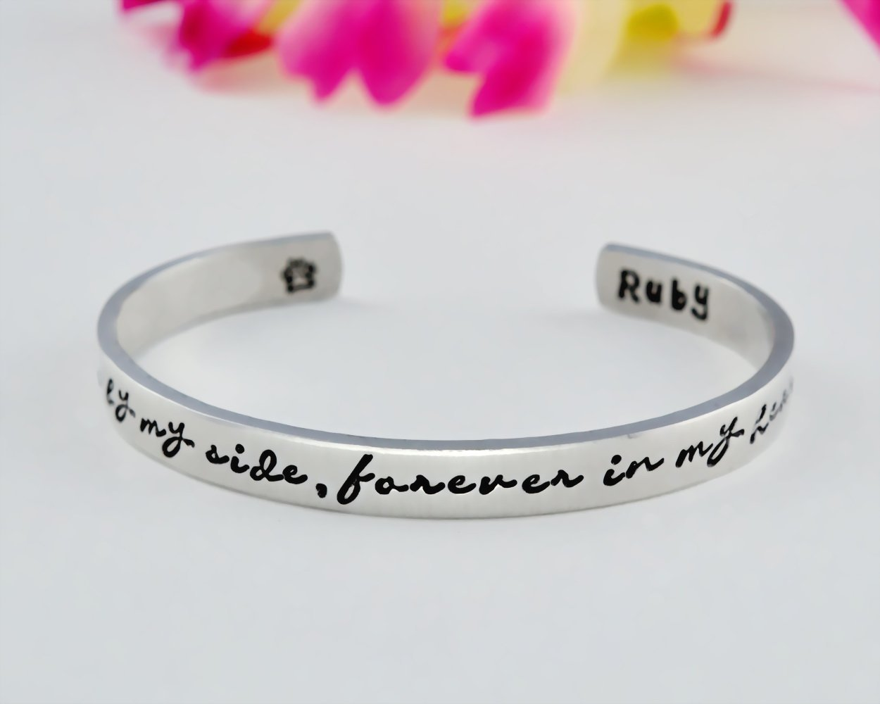 Once by My Side, Forever in My Heart - Hand Stamped Aluminum, Copper or Brass Cuff Bracelet, Pet Memorial Name, Dog Paw Print, Personalized Pets Owner Gift