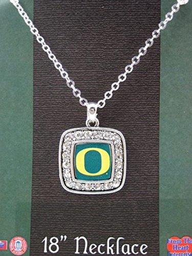 Oregon Logo Square (Officially Licensed University of Oregon Ducks Square Crystal Studded Pendant Necklace)