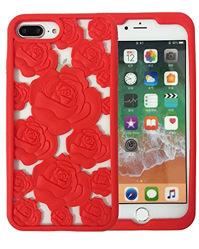 VERYLULU Fashion Girls iPhone 7 Plus Case with Flowers Lanyard Romantic Lover Beauty 3D Red Rose Hollowed Floral Soft Silicone Coque Cover Case for iPhone 7 Plus and iPhone 8 Plus (Red Roses For Lovers)