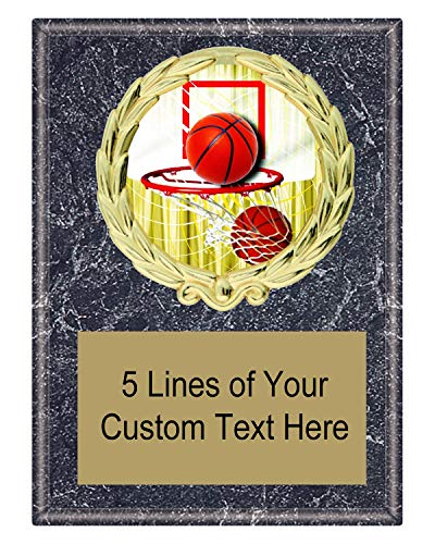 Express Medals 5x7 Black Marble Color Basketball Plaque Award Trophy with Engraved Plate ()