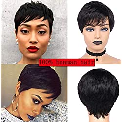 Pixie Cut Wigs For Black Women Short Human Hair Wigs Straight hair Natural Brazilian Virgin Glueless Wigs Ladies Wigs for Charming Daily Party Cosplay Hairpiece 4.5 inch