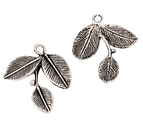 20 x Cute Leaf Charms Beads 25mm Antique Silver Tone for Charms Bracelet Necklace Jewelry Findings #mcz1106 (Silver Leaf Jasper Beads)