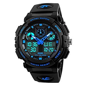 Skmei S-Shock Blue Multi-Functional Analog Digital Sports Watch for Men's & Boys