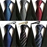 Jeatonge Lot 6 Pcs Mens Ties and 3 Free Tie Clips, Men's Classic Tie Necktie Woven Jacquard Neck Ties Gift box packing (Style 2)