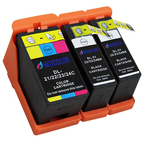HOTCOLOR 3 Pack (2 Black/1 Color) for Dell Series 21, Series 22, Series 23, Series 24 Ink Cartridge for V313, V313W, V515, V515W, V715W, P513W, P713 Printer