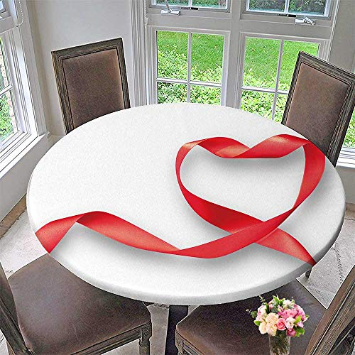 PINAFORE HOME Modern Table Cloth red Heart Ribbon Isolated on White Background clipp Path Symbolic Indoor or Outdoor Parties 35.5
