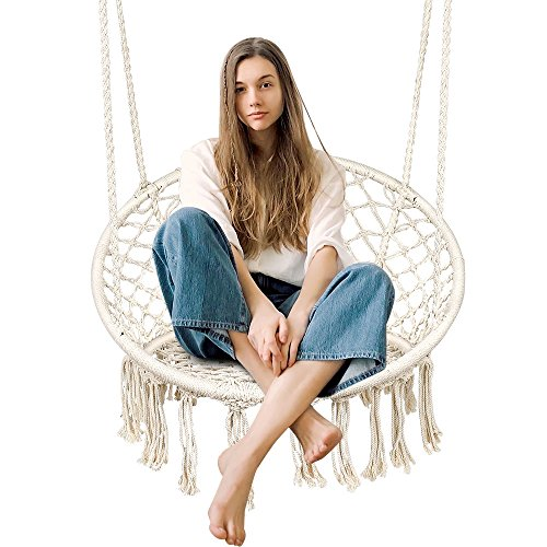 Zupapa Macramé Hanging Chair, Beige Wide Porch Hammock Swing with 2 Hooks, Cotton Net 265 Pounds Capacity Perfect for Indoor/Outdoor by Zupapa