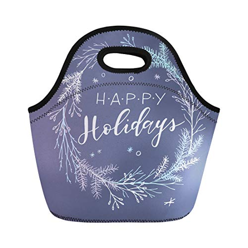 (Semtomn Neoprene Lunch Tote Bag Wreath Christmas Elegant Minimalist Holiday Happy Winter Hipster Merry Reusable Cooler Bags Insulated Thermal Picnic Handbag for Travel,School,Outdoors,Work)