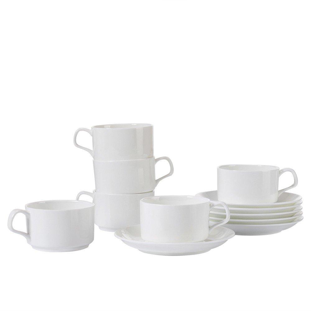 Porlien 5-Ounce Bone China Espresso Cups Set of 6, Stackable Demitasse Cups Set TEACUPWZ060