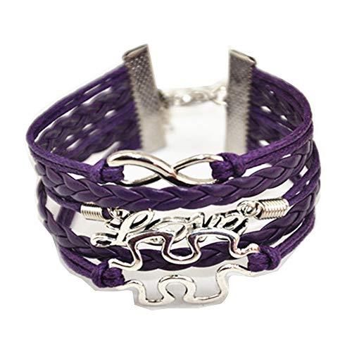 Handmade Puzzle Piece Jigsaw Puzzle Infinity Cross Heart Eagle Leather Bracelet for Girl Boy Men Women (All Purple) -
