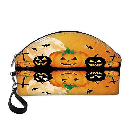Halloween Decorations Beautiful Women's semi circular cosmetic bag,Spooky Carved Halloween Pumpkin Full Moon with Bats and Grave Lake For traveling,10.8