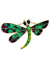 Neoglory Jewelry Gold Plated Multicolor Enamel Dragonfly Animal Brooch Pin with Jewelry Box (Green)