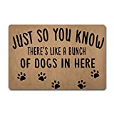 ZQH Back Door Mat Just So You Know There's Like Lot of Dogs in Here Doormat Funny Door Rugs (23.6 X 15.7 in) Non-Woven Fabric Top with a Anti-Slip Rubber Back Door Rugs Target Doormat