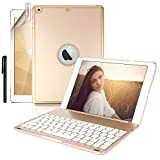 New iPad 9.7 Keyboard Case,Boriyuan Protective Folio Utra Slim Hard Shell Light Weight Stand Smart Cover with Backlit Bluetooth Keyboard and Auto Sleep/Wake for Apple iPad 9.7 2017 Tablet