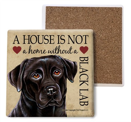 Black Lab Absorbent Stone Coasters, Set of 4 (SJT24710)