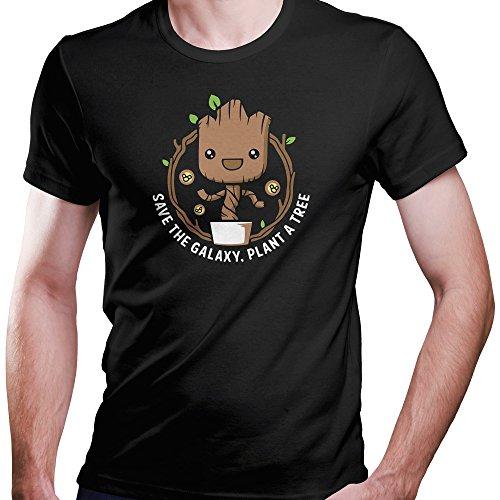 I Am Groot Guardians of The Galaxy Save The Galaxy, Plant a Tree T-Shirt Größe XS-4XL Geschenk (XXXXL, Schwarz)