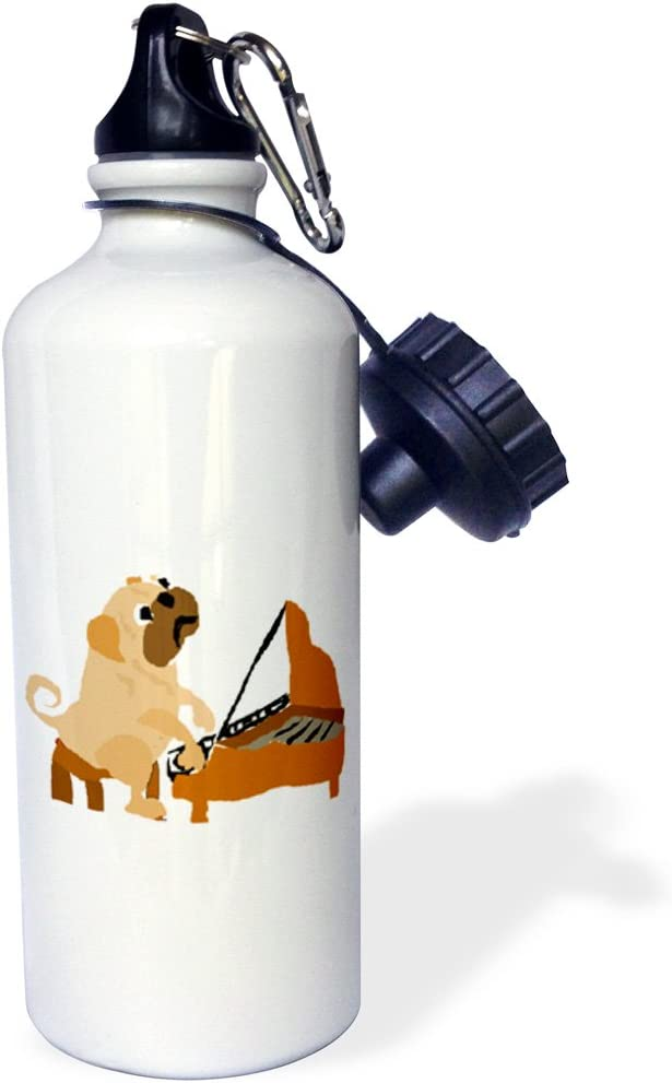 3dRose wb/_221354/_1 Funny Pug Dog Playing The Piano Sports Water Bottle 21 oz White