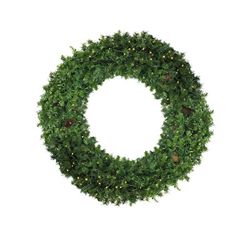 Northlight 6' Pre-Lit Dakota Red Pine Commercial Artificial Christmas Wreath - Warm White LED Lights by Northlight