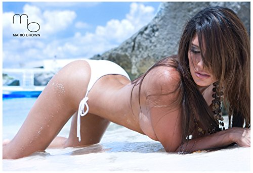 April Gutierrez Sexy Topless Beach Photograph By Mario Brown Poster 19 x 13in with Poster Hanger