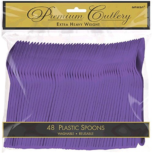 Amscan Party Perfect Reusable Plastic Spoons , Purple, 9.3 x