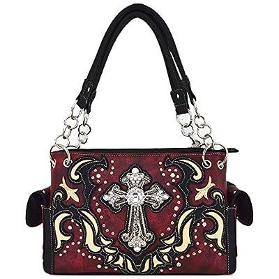 Western Style Rhinestone Cross Stud Concealed Carry Purse Laser Cut Handbag Women Shoulder Bag Wallet Set