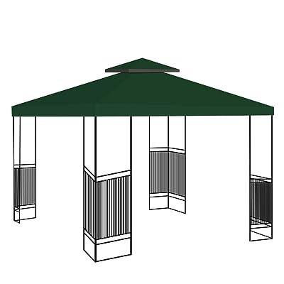 Canopy Gazebo Top Replacement Sunshade Tent Patio Outdoor Garden Cover 10'' x 10'' 2 Tier/Green : Garden & Outdoor