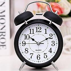 FirstDecor 6Retro Vintage Alarm Clocks Two Bells European retro wood color 3D stereo Table Clocks Desktop Clock Home Decoration Desk Clock with Nightlight and Loud Alarm