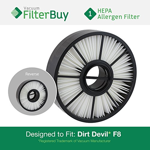 1 FilterBuy HEPA Filter for Dirt Devil F8. Compare with Dirt Devil Part #'s 3UD0280001 and 3-UD0280-001. Designed & Engineered by FilterBuy in the - Usa 001