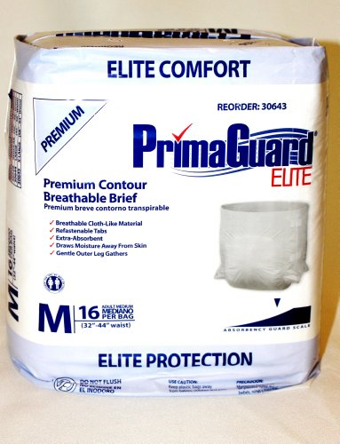 Medium Adult Briefs 6 packs with 16 each pack (96 total briefs) PrimaGuard Elite 32 inch to 44 inch waist breathable extra absorbent (Elite Waist Pack)